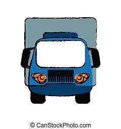 blue truck small cargo transportation sketch