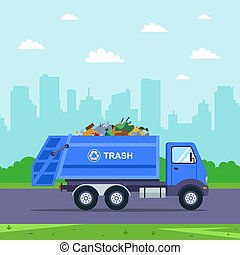 blue truck takes trash out of the city.