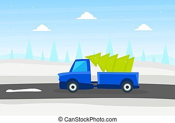 Blue Truck with Green Fir Tree, Christmas Pickup on Winter Landscape Background Vector Illustration