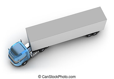 Blue truck with trailer top view isolated on white my own...