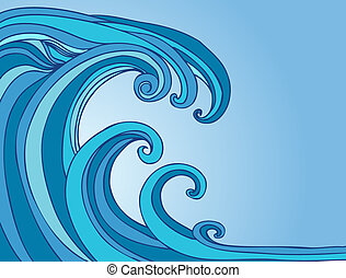 Blue Tsunami drawing of a wave in the shape of a monster.