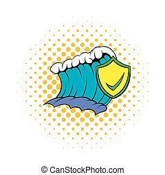 Blue tsunami wave and yellow shield with tick icon