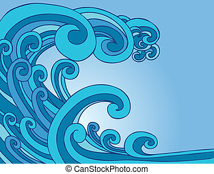 Blue Tsunami Wave cartoon drawing isolated on a blue sky...