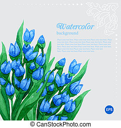 Blue tulip floral watercolor frame