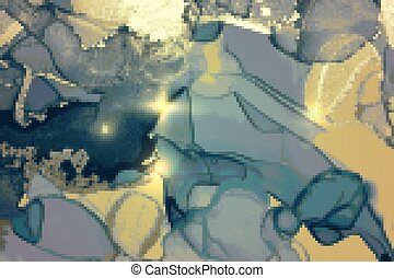 Blue, turquoise and gold shining abstract marble background
