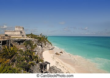 Blue turquoise Caribbean mayan ruins Tulum