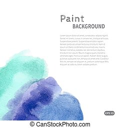 Blue turquoise watercolor paint background vertical diag...