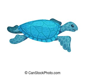 Blue turtle. Vector illustration on a white background.