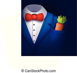 blue tuxedo with carrot