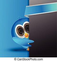 blue twiter bird peek - blue bird hiding behind banner with...