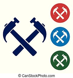 Blue Two crossed hammers icon isolated on white background. Tool for repair. Set color icon in circle buttons. Vector Illustration