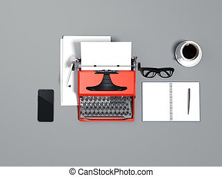 Blue typewriter, blank sheets, galsses and smartphone. 3d rendering