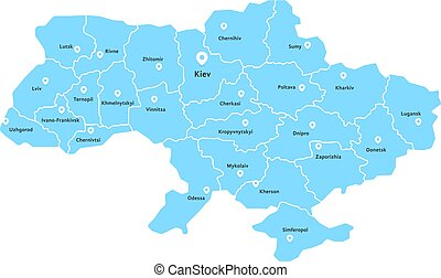 blue ukraine map with pin on white background