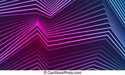 Blue ultraviolet neon curved lines video animation - Blue...