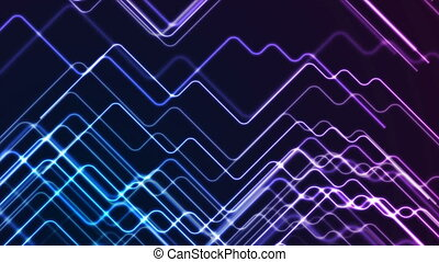 Blue ultraviolet neon geometric lines abstract tech motion background. Video animation Ultra HD 4K 3840x2160
