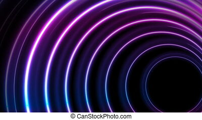 Blue ultraviolet neon glowing circles video animation - Blue...