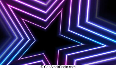 Blue ultraviolet neon glowing stars video animation - Blue...
