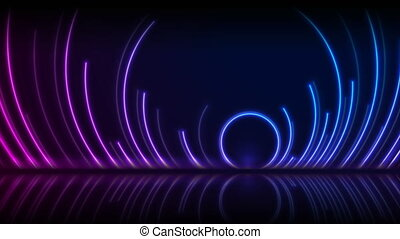 Blue and ultraviolet neon laser circles with reflection. Abstract technology retro motion background. Seamless looping. Video animation Ultra HD 4K 3840x2160