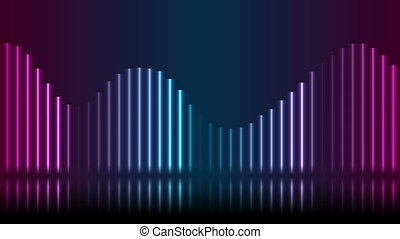 Blue and ultraviolet neon laser glowing wavy lines with reflection, abstract motion background. Video animation HD 1920x1080