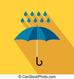Blue umbrella and rain drops icon, flat style