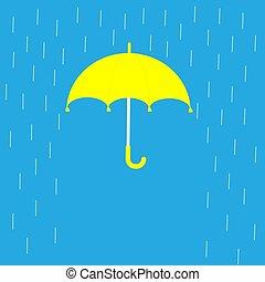 Blue umbrella and rain lines. Template. Flat design