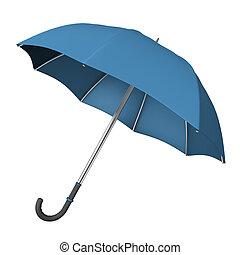 Blue Umbrella - Blue opened umbrella on the white...