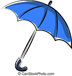 Blue umbrella, illustration, vector on white background.