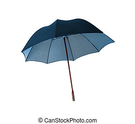 Blue umbrella isolated on a white background