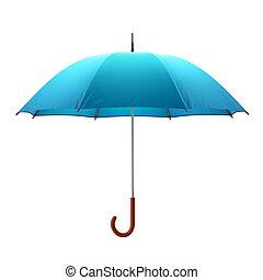 Blue umbrella isolated on white background. 3D illustration .