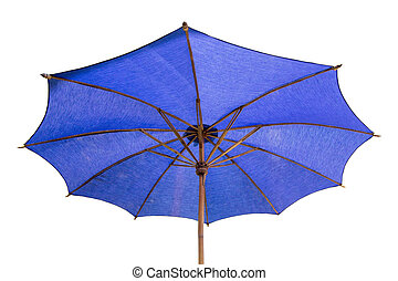 blue umbrella isolated on white with clipping path