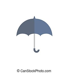 Blue umbrella protects from rain