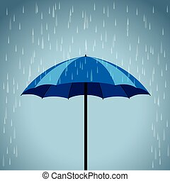 blue umbrella rain background