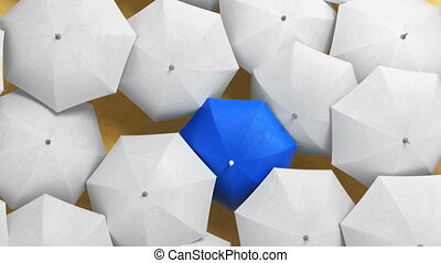 Blue Umbrella Wades Through a Flow of White Umbrellas on a Beach, Standing Out from the Crowd Concept. Beautiful 3d Animation