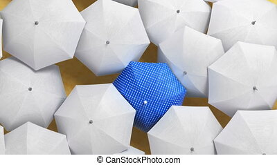 Blue Umbrella Wades Through a Flow of White Umbrellas, Standing Out from the Crowd Concept. Beautiful 3d Animation, 4K Ultra HD