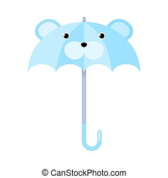 Blue umbrella with bear animal face vector illustration