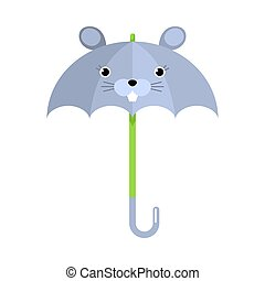 Blue umbrella with mouse animal face vector illustration