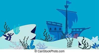Blue underwater landscape with sunken ship. Flat design....
