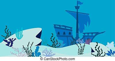Blue underwater landscape with sunken ship