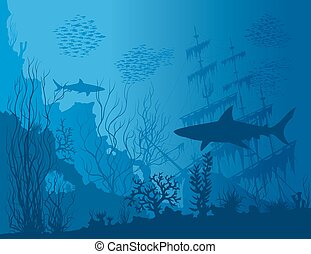 Blue underwater landscape with sunken ship, sharks and see...