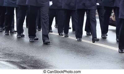 Blue Uniform Officers Walking - Wearing blue unofroms and...