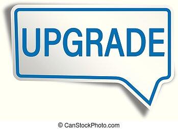 blue upgrade modern speech bubble tag web icon