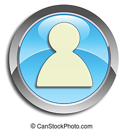 Blue user button - Blue icon with user pictogram