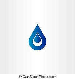 blue víz, csepp, ikon, jel