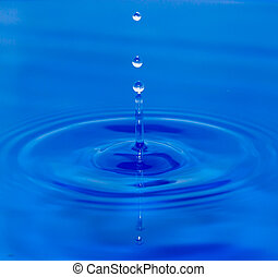 blue víz, esés, csepp