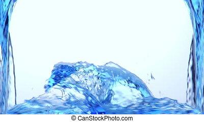 blue víz, fröcskölő, alfa