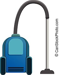 Blue vacuum cleaner icon, cartoon style