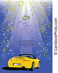 Blue Valentine`s Day background with car image
