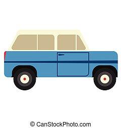 blue van flat illustration on white