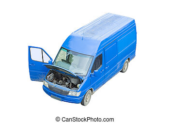 blue van with engine problems. isolated on white background