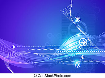 Blue vector abstract hi-tech background with arrows and waves